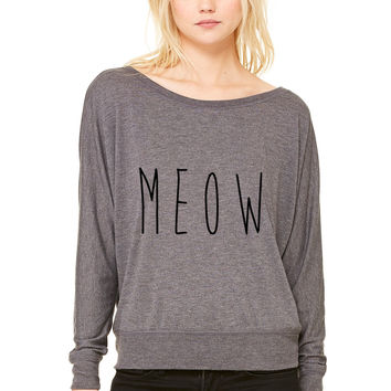 MEOW WOMEN'S FLOWY LONG SLEEVE OFF SHOULDER TEE