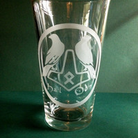 Thor's Hammer Odin Raven's Etched Pint Glass