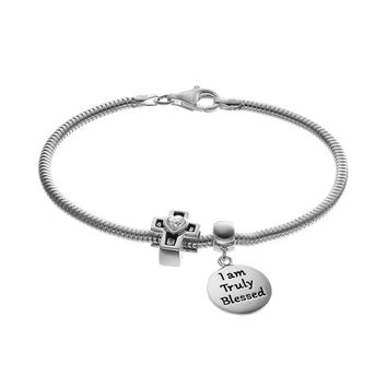 "Individuality Beads Cubic Zirconia Sterling Silver Snake Chain Bracelet, ""Blessed'' Disc Charm & Cross Bead Set (Grey)"