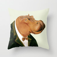 Hippo Throw Pillow by Animal Crew
