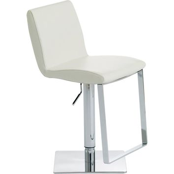 Lewis Adjustable Height Bar or Counter Stool White Top Grain Italian Leather