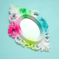 Small Ombre Neon Vintage Ornate Wall Mirror - Painted fluorescent hot pink, yellow, green, blue to White