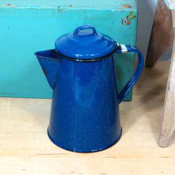 Enamelware Coffee Pot . Cobalt Blue with White Speckles . Vintage . Usable or Reuse As A Vase . Small Enamel Coffeepot