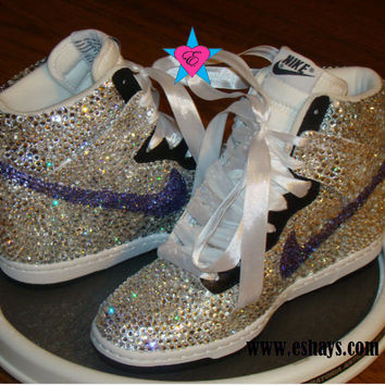 Clear Violet Swarovski Crystal Nike Dunk Hi with Ribbon Laces