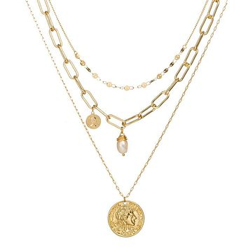 Layered Necklace with Gypsy Coin-Hollywood Sensation's Three Layer Necklace