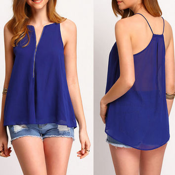Womens Casual Zipper Chiffon Top Gift 12
