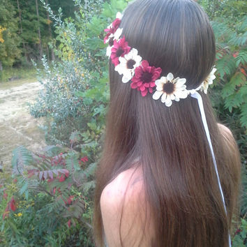 Daisy Flower Crown, Flower Headband, cream and burgundy flowers, rustic Headband, Daisy headband, fall flower crown, daisy halo, daisy crown