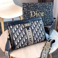 Free shipping-Dior 2019 new wide shoulder strap female shoulder bag Messenger bag
