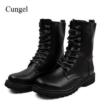 Cungel Autumn/Winter Leather Boots for men Riding boots Outdoor Hiking boots Plus velvet Warm boots Anti-skid Army Combat boots