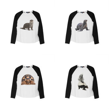 Kid's Sea Lion Printed 100% Cotton Long Sleeves Raglan T-Shirt UTS_01