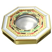 Chinese Feng Shui Convex Bagua Mirror Wood Gold Foil Metallic Mirror Drive Out Evil Spirits Home Decor Metal Crafts 11cm x 1.5cm