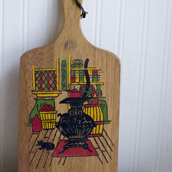 Vintage Primitive Cheese Cutting Board - Retro Kitchen Decor