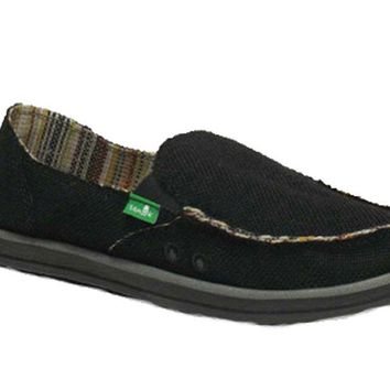 Sanuk Donna Hemp Black Sidewalk Surfers