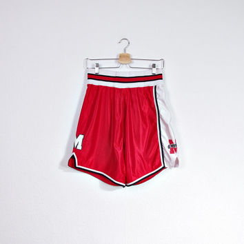 Vintage Grizzlies Betlin Athletic Shorts / Made in USA / Nylon Sportswear / Size M