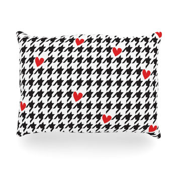 "Empire Ruhl ""Spacey Houndstooth Heart"" Oblong Pillow"
