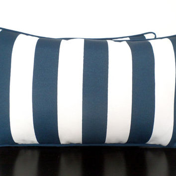 Blue striped outdoor pillow cover 21x12, navy blue and white cushion cover, nautical pillow case, beach house pillow, dark blue lumbar case