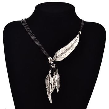 Leaves Sweater Rope Feather Pattern Pendant Necklace