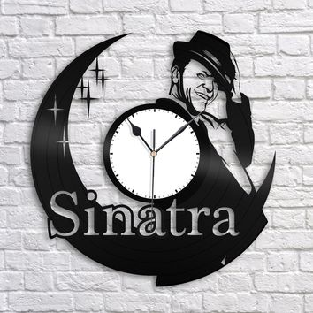 Frank Sinatra Clock, Recycled Vintage Music Wall Decor, Repurposed Gift Idea, Unique Decorations, Vinyl Album Clock, Vinyl Deco Art