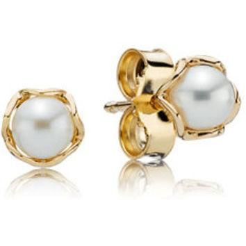 Authentic Pandora Jewelry - 14K Cultured Elegance Stud Earrings w-Pearl