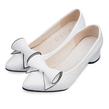 Women Low Heel Wedding White Shoes Leather Office Pumps Shoes Pointed Toe Bowknot Stil