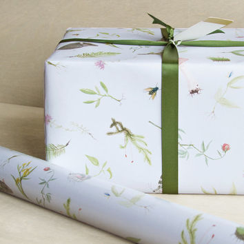 Botanical Wrapping Paper - 3 Sheets - In the Meadow Gift Wrap Pale Blue