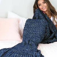 Navy Mermaid Tail Blanket