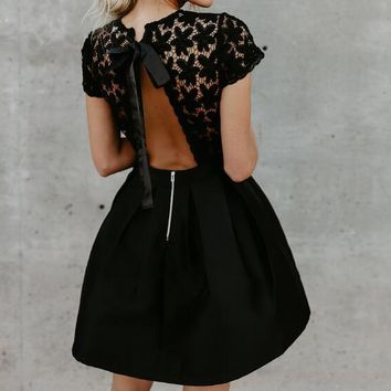 2018 New Party Lace Women Backless Dresses Round Neck Gothic Punk Black Woman Clothings For Ladies WS5208U