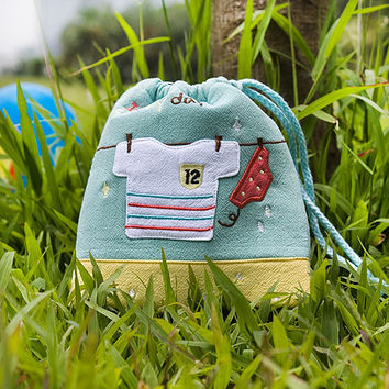 A Sunny day Embroidered Applique Fabric Art Draw String Bag / Drawstring Pouch in 5.7*6.7