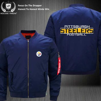Dropshipping USA Size MA-1 Jacket Football Team Pittsburgh Steelers Flight Jacket Custom Design Printed Bomber Jacket made Men