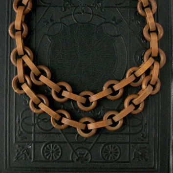 Art Deco Necklace Wood Chain Chunky 1930s by TheDeeps on Etsy