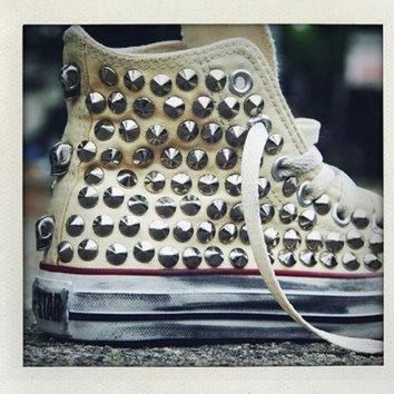 DCCK1IN studded converse converse cream high top with silver cone rivet studs by customduo on