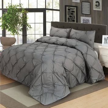 Luxury Duvet Cover Set Grey Black White Pinch Pleat 2/3pcs Twin/Queen/King Size Bedclothes Bedding Sets (no filling no sheet )