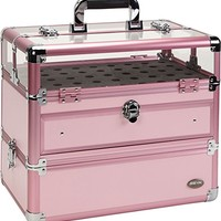 Seya Professional 45 Nail Polish Clear Panel Makeup Artist Organizer Cosmetic Case w/ Slide Out Drawer (Pink)