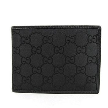 ca spbest Gucci Men's Black Guccissima Nylon Coin Pocket Bifold Wallet 143384 1000
