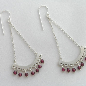 Sterling Silver Chandelier Earrings with Red Garnet - Long Dangle Earrings