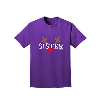 Matching Family Christmas Design - Reindeer - Sister Adult Dark T-Shirt by TooLoud