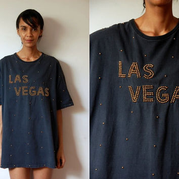 Vtg Gold Studs Las Vegas Faded Black Oversize SS T Shirt