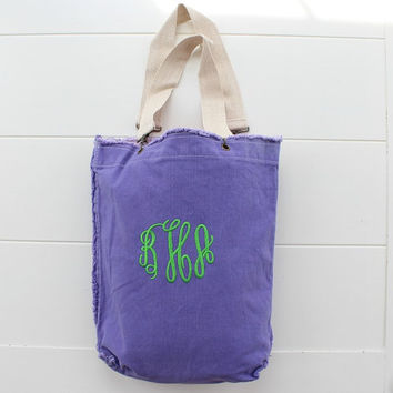 Monogrammed Tote Bag Purple Canvas Beach Bag Sale