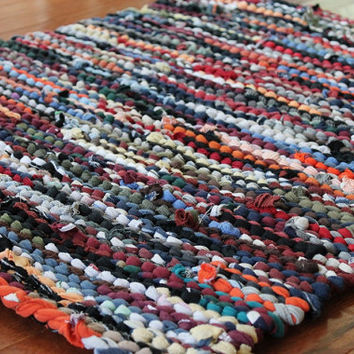 Autumn T Shirt Rag Rug Utility Upcycled Orange Red Gold Tan Black Gray Olive Green Rustic Primitive 26in x 30in -US Shipping Included