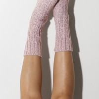 Ballet Pink Marled Cable Knit Crew Socks