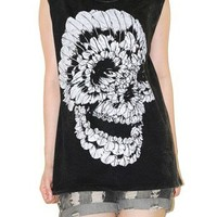Feather Skull Bleached Black Rock Tank Top Sleeveless Shirt Size L