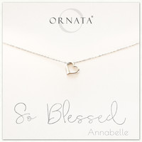 """""""So Blessed"""" Sterling Silver Heart Necklace on Personalized Jewelry Card"""