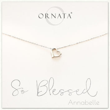 """So Blessed"" Sterling Silver Heart Necklace on Personalized Jewelry Card"