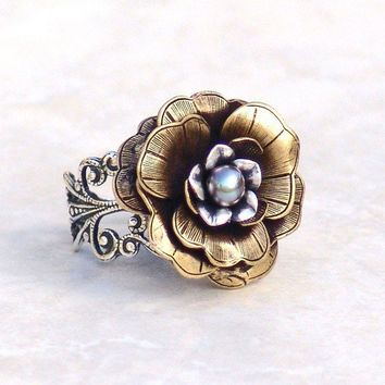 Cocktail Ring Winter Fairy Rose Flower by galleryzooartdesigns