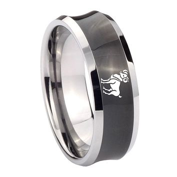 10MM Concave Aries Classic Tungsten Carbide Black IP Two Tone Men's Ring
