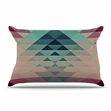 "Nika Martinez ""Hipster"" Maroon Teal Pillow Case"