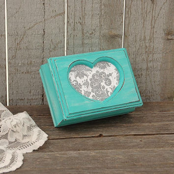 Jewelry Box, Trinket Box, Shabby Chic, Tiffany Blue, Aqua, Hand Painted, Damask, Decoupage, Distressed