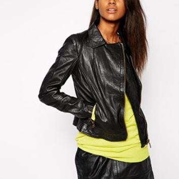 Doma Moto Leather Jacket with Zips - Black