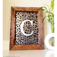 Personalized Monogram Sign, Initial Sign, Cheetah Print, Custom Monogram Hanging Wall Sign, Personalized Gift, Rustic Home Decor