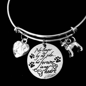 Chihuahua Dog Memorial Jewelry No Longer By My Side but Forever in My Heart Adjustable Bracelet Silver Expandable Charm Bangle Animal Lover One Size Fits All Gift Paw Print